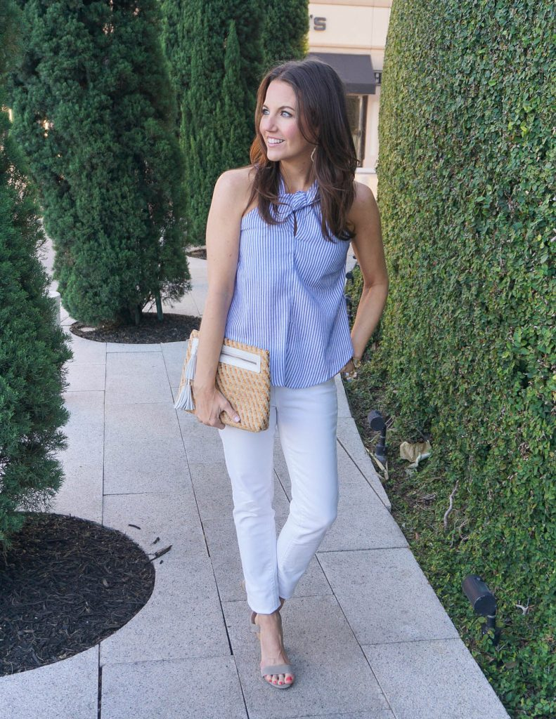 Spring Outfit | Blue Striped Halter Top | White Skinny Jeans | Houston Fashion Blogger Lady in Violet