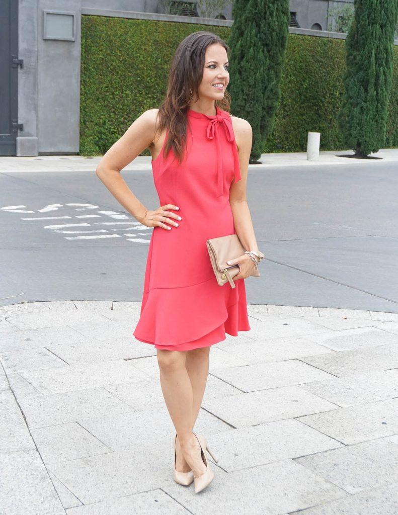 Spring Outfit | Coral Tie Neck Dress | Leather Clutch | Houston Fashion Blogger Lady in Violet