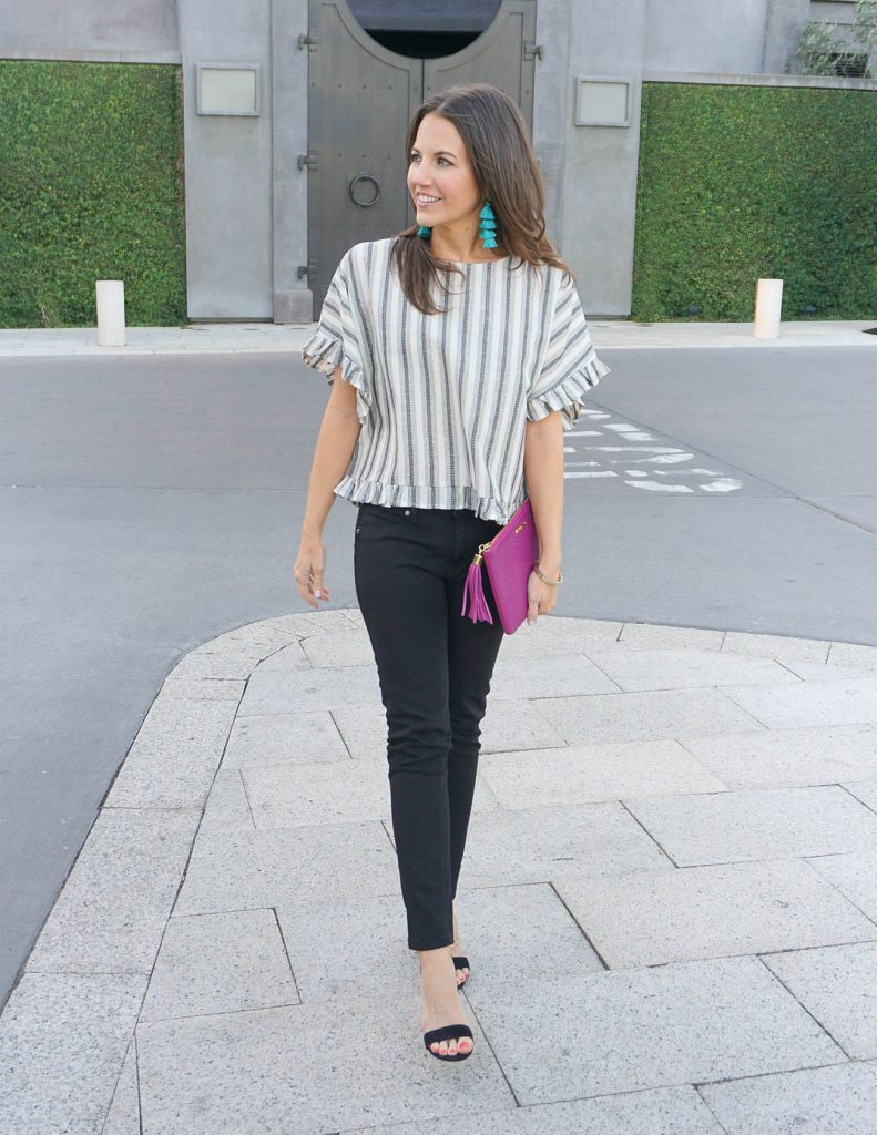Spring Outfit | Gray Striped Ruffle Top | Black Skinny Jeans | Houston Fashion Blogger Lady in Violet