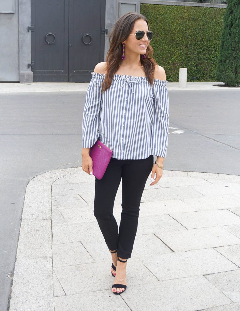 Spring Outfit | Striped Off the Shoulder Top | Black Skinny Jeans | Houston Fashion Blogger Lady in Violet