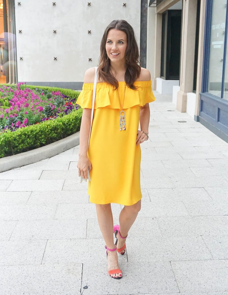 Spring Outfit | Yellow Off the Shoulder Dress | Block Heel Sandals | Houston Fashion Blogger Lady in Violet