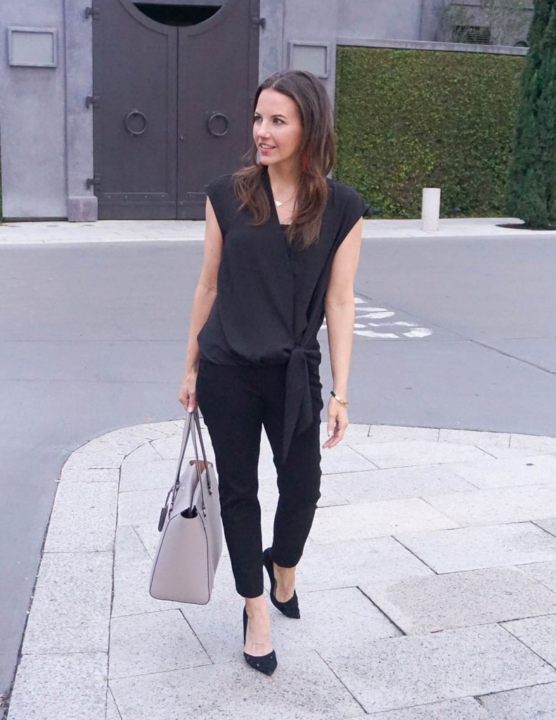 Work Outfit | Black Work Pants | Sleeveless Wrap Blouse | Houston Fashion Blogger Lady in Violet
