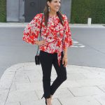 Workwear: Red Floral Blouse