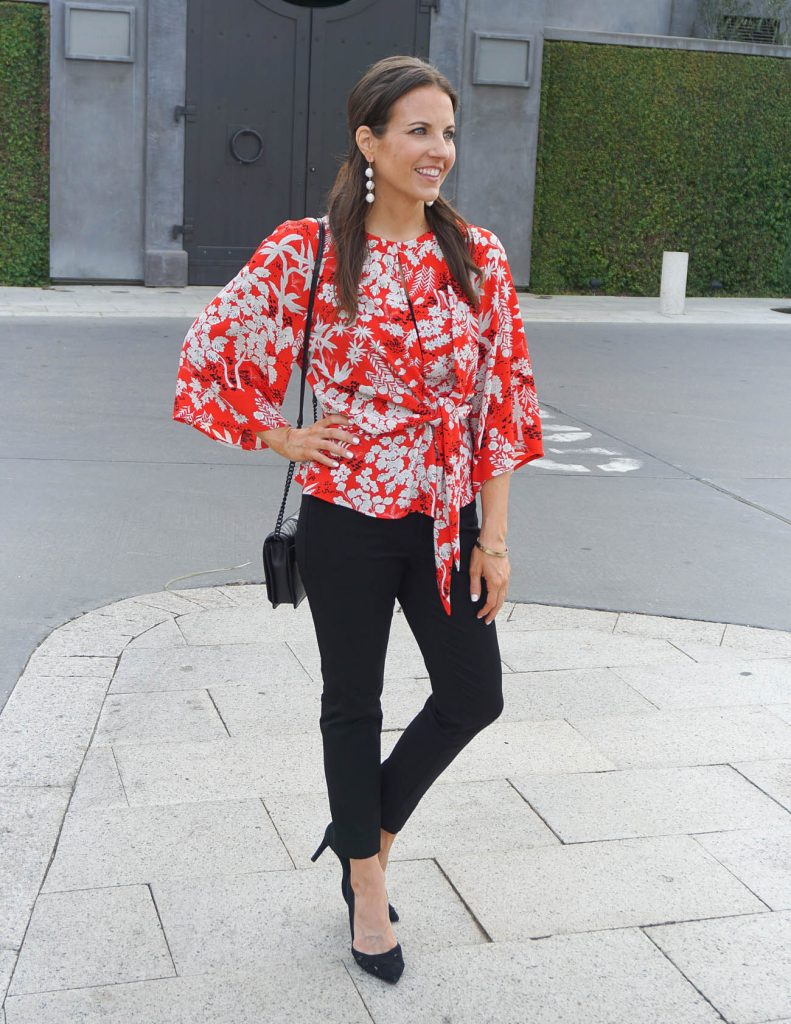 Work Outfit | Red Floral Blouse | Black Ankle Pants | Houston Fashion Blogger Lady in Violet