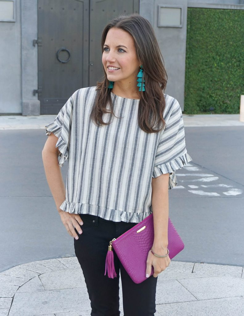 Date Night Outfit | Gray Striped Crop Top | Teal Fringe Earrings | Houston Fashion Blogger Lady in Violet