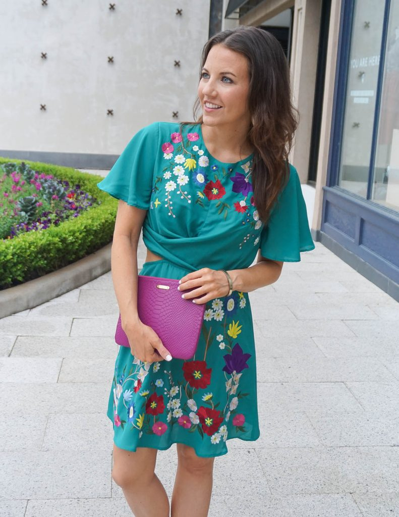 Spring Outfit | Green Floral Dress | Dark Pink Clutch | Houston Fashion Blogger Lady in Violet