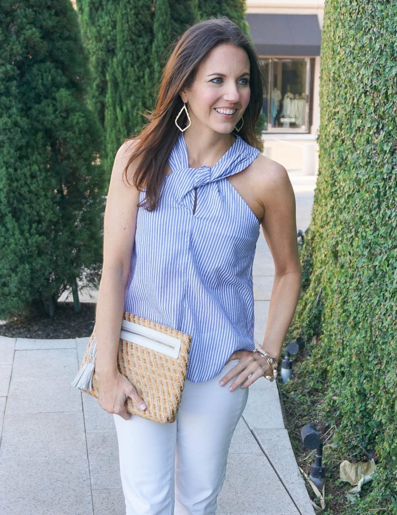 Summer Outfit | Blue Halter Top | Straw Clutch | Houston Fashion Blogger Lady in Violet