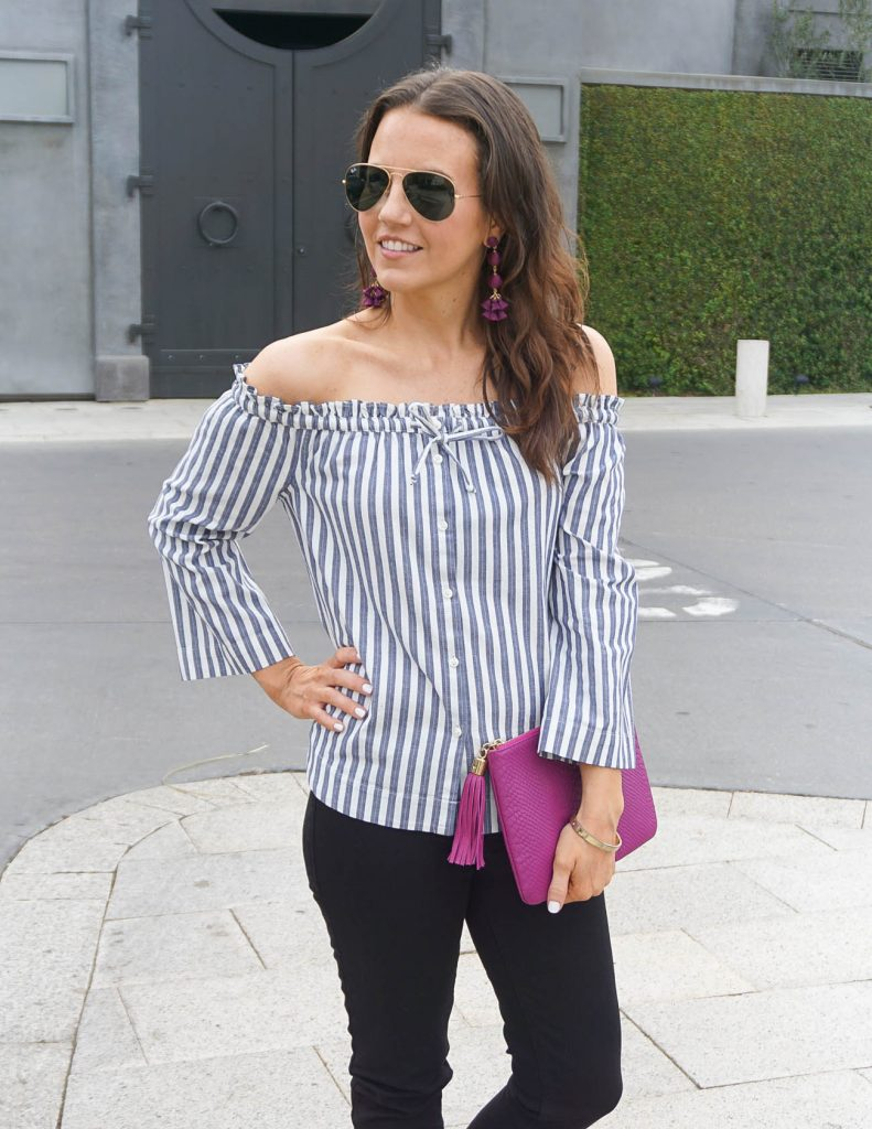 Weekend Outfit | Striped Off the Shoulder Top | Pink Clutch Purse | Houston Fashion Blogger Lady in Violet
