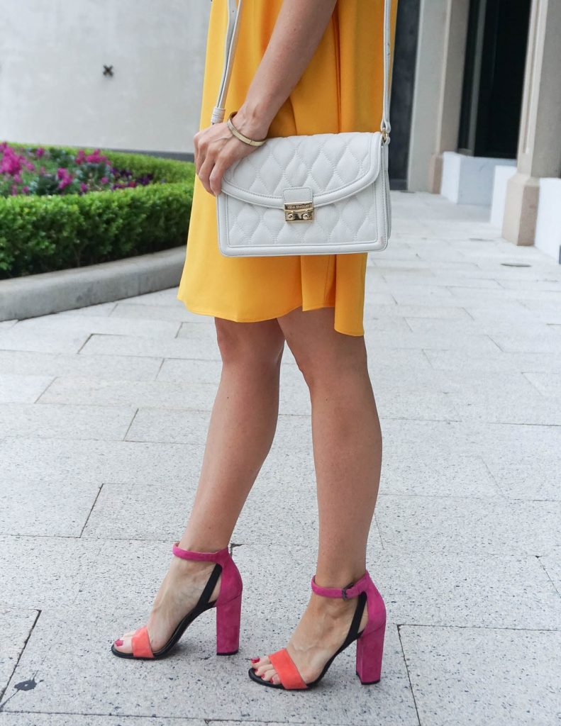 Date Night Outfit | White Crossbody Bag | Block Heel Sandals | Houston Fashion Blogger Lady in Violet