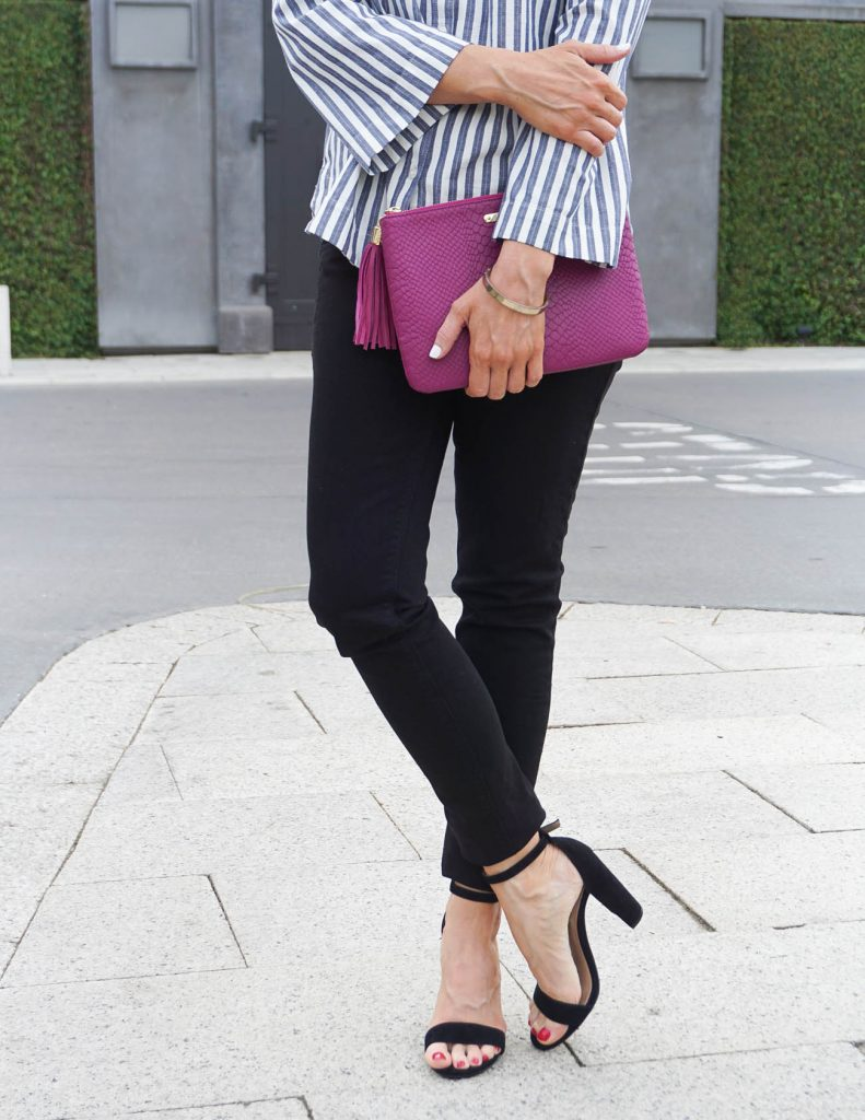 Fall Outfit | Black Skinny Jeans | Block Heel Sandals | Houston Fashion Blogger Lady in Violet