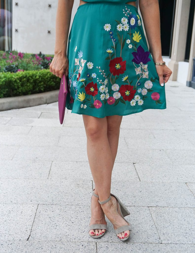 Spring Fashion | Floral Embroidered Dress | Taupe Block Heel Sandals | Houston Fashion Blogger Lady in Violet