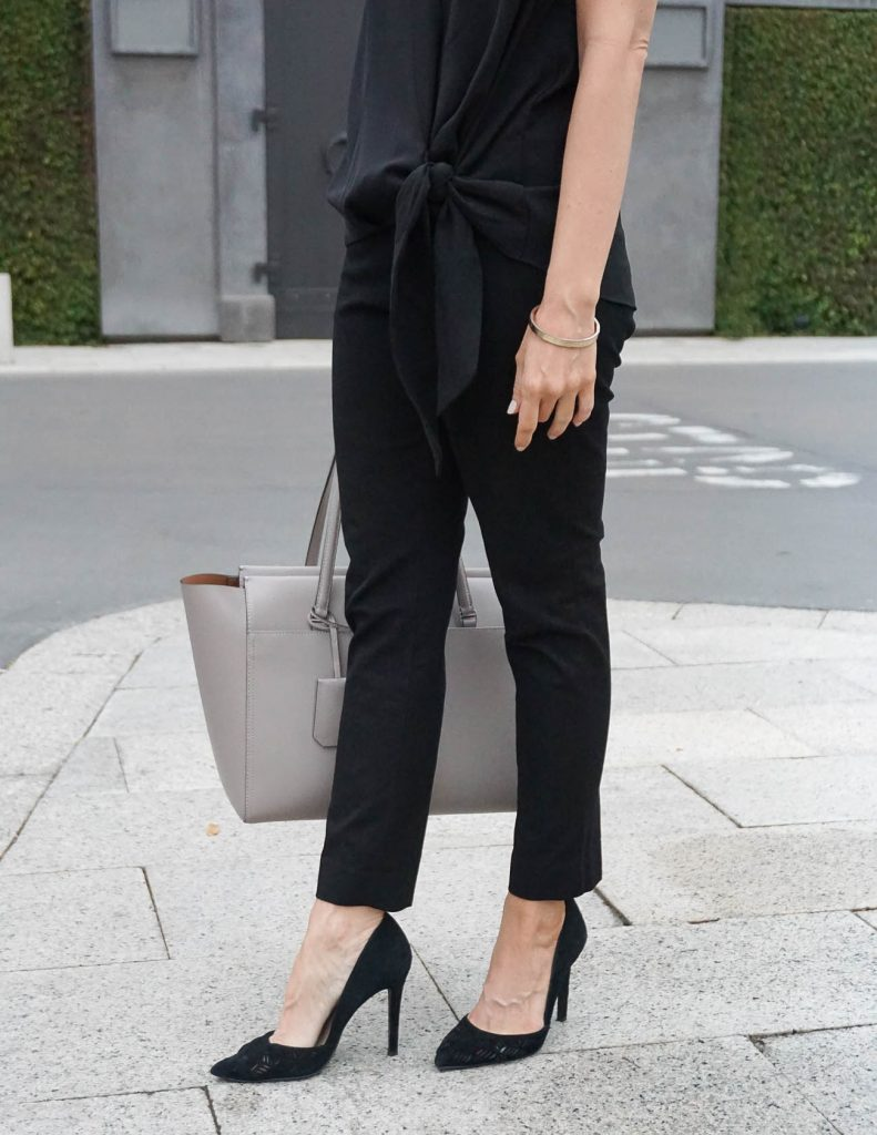 Work Outfit | Banana Republic Sloan Pants | Black D'orsay Heels | Houston Fashion Blogger Lady in Violet