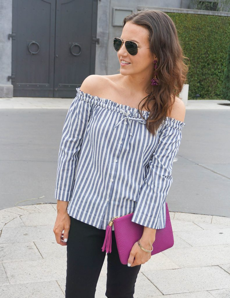 Casual Outfit | Striped OTS Top | Berry Statement Earrings | Houston Fashion Blogger Lady in Violet