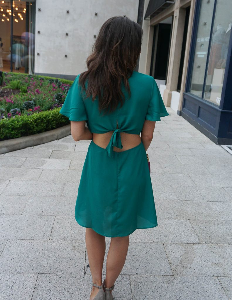 Date Night Outfit | Teal Dress | Cutout Back Dress | Houston Fashion Blog Lady in Violet