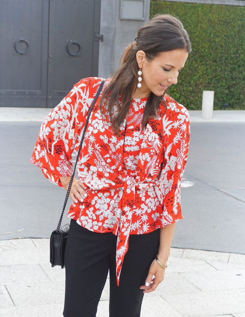 Fall Work Outfit | Red Floral Blouse | White Statement Earrings | Houston Fashion Blogger Lady in Violet