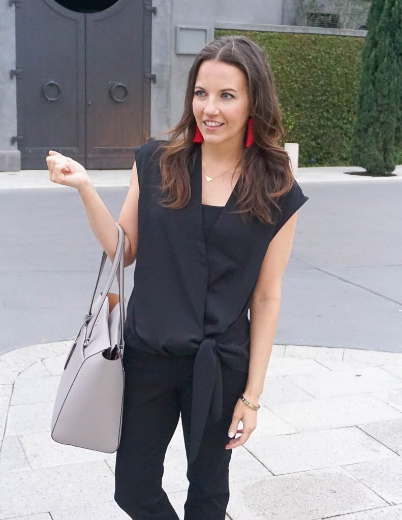 Spring Outfit | Black Wrap Blouse | Gray Tote Bag | Houston Fashion Blogger Lady in Violet