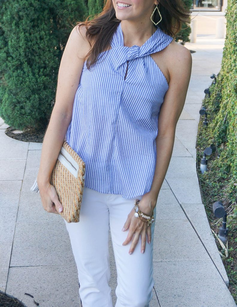 Spring Outfit | Striped Halter Top | Gold Hoop Earrings | Houston Fashion Blogger Lady in Violet