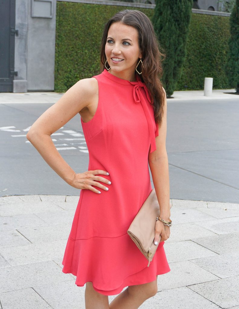 Summer Outfit | Coral A-line Dress | Sophee Earrings | Houston Fashion Blogger Lady in Violet