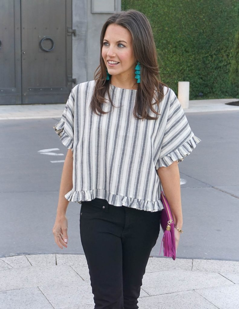 Summer Outfit | Gray Striped Top | Teal Tassel Earrings | Houston Fashion Blogger Lady in Violet