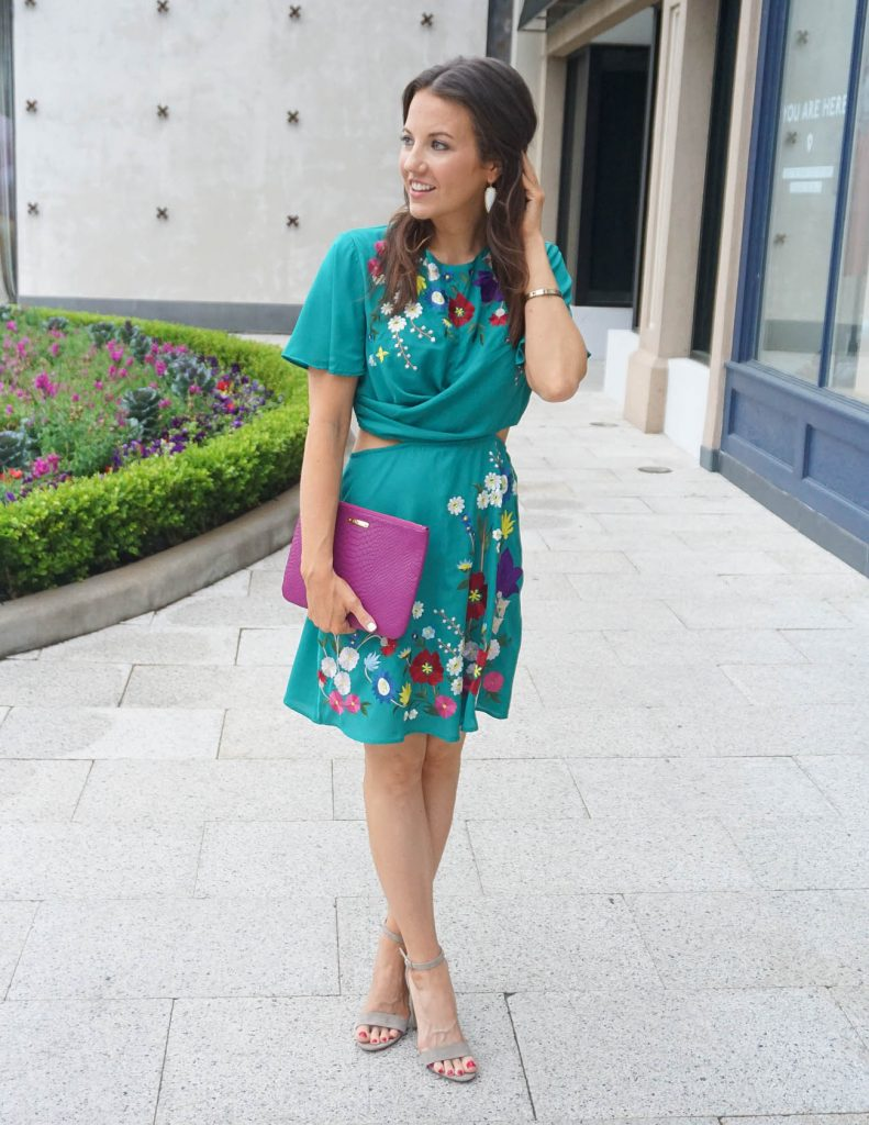 Bridal Shower Outfit | Teal Floral Dress | Magenta Clutch | Houston Fashion Blogger Lady in Violet