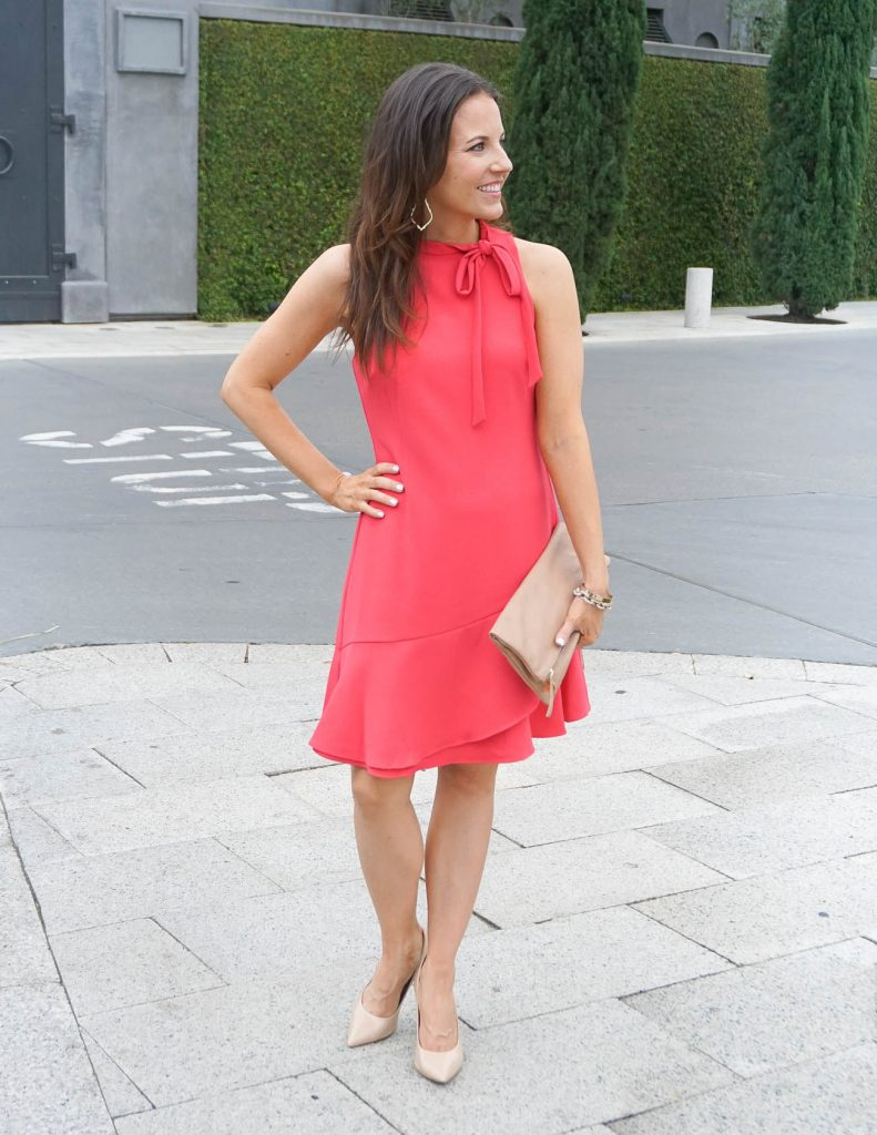 Church Outfit | Coral Pink Dress | Leather Clutch | Houston Fashion Blogger Lady in Violet