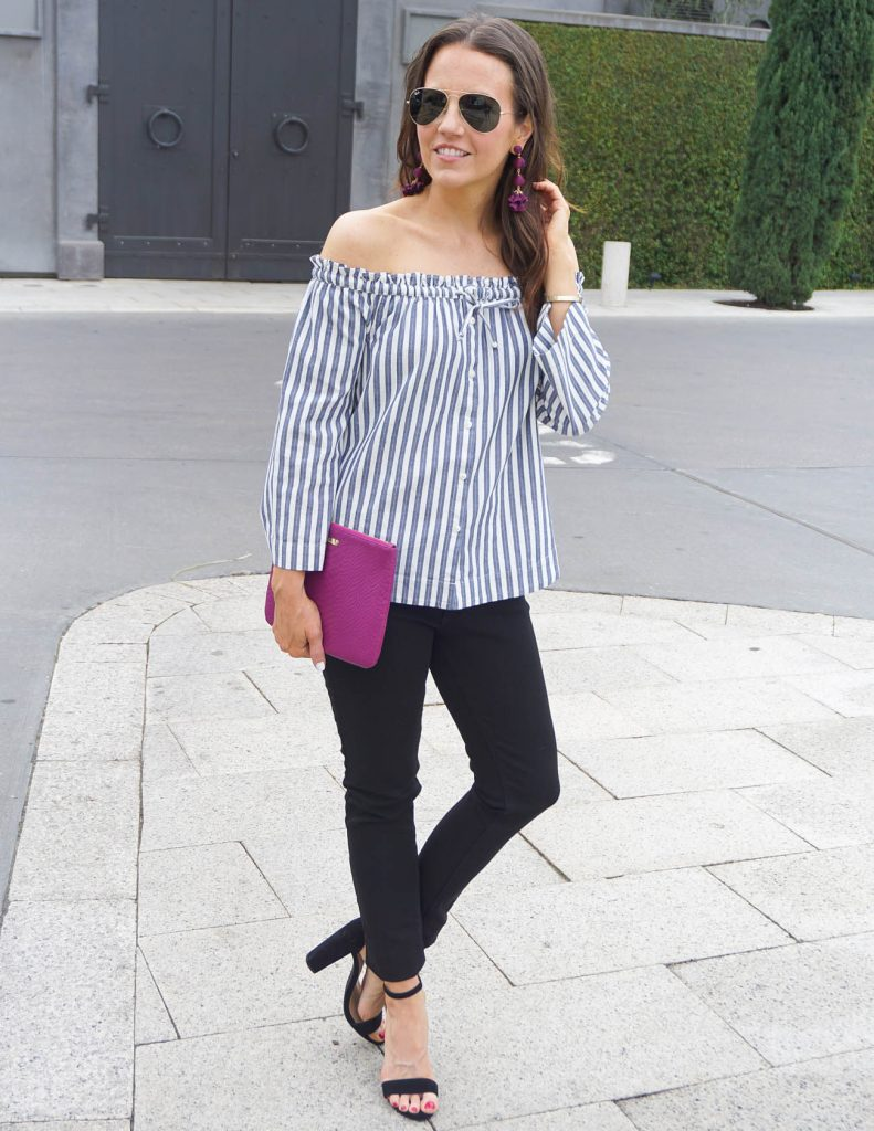 Date Night Outfit | Striped Off the Shoulder Top | Black Jeans | Houston Fashion Blogger Lady in Violet