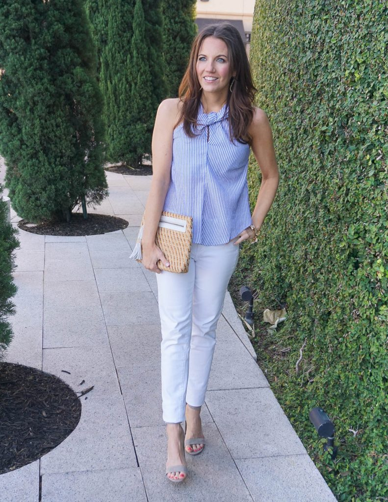 Kentucky Derby Outfit Idea | Blue Striped Halter Top | White Jeans | Houston Fashion Blogger Lady in Violet
