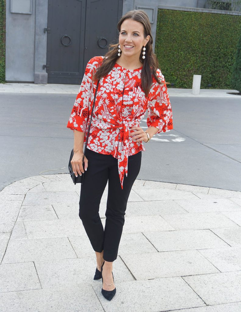 Office Outfit | Red Tie Waist Blouse | Black Skinny Pants | Houston Fashion Blogger Lady in Violet