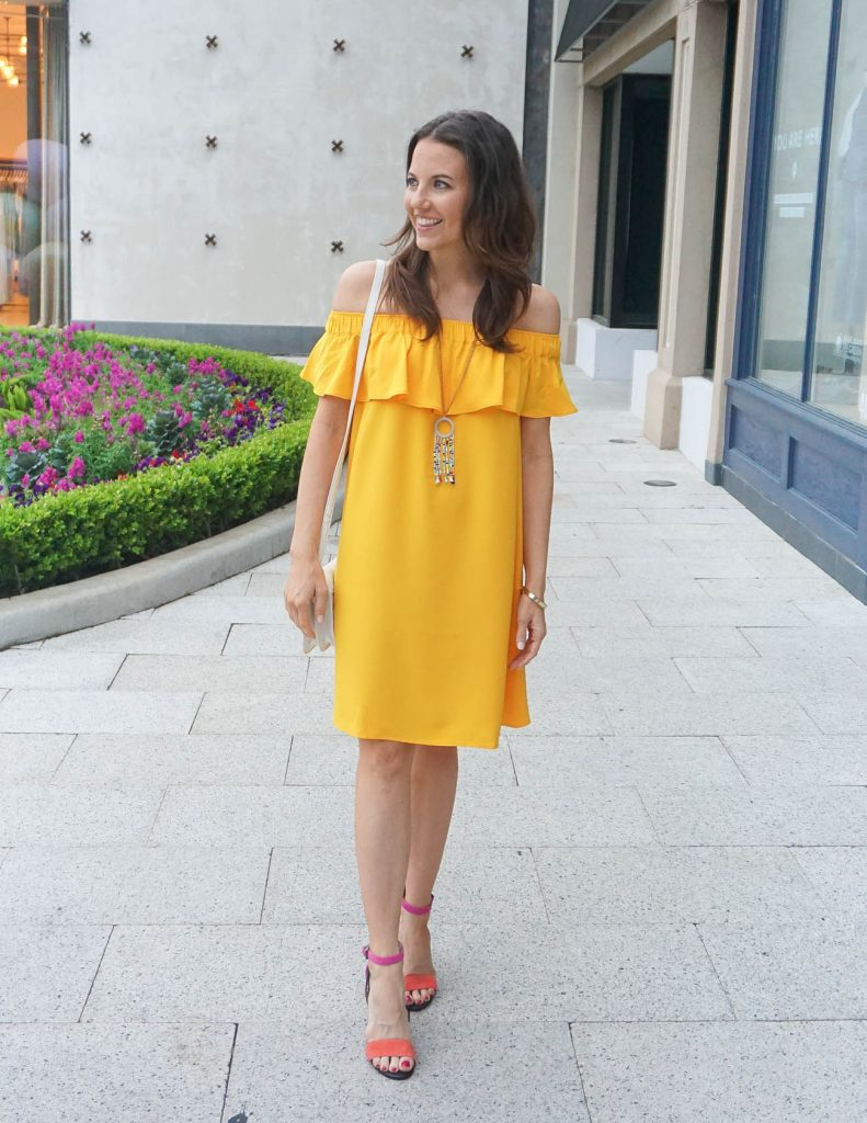 Spring Outfit | Yellow Dress | Pink Heels | Houston Fashion Blogger Lady in Violet