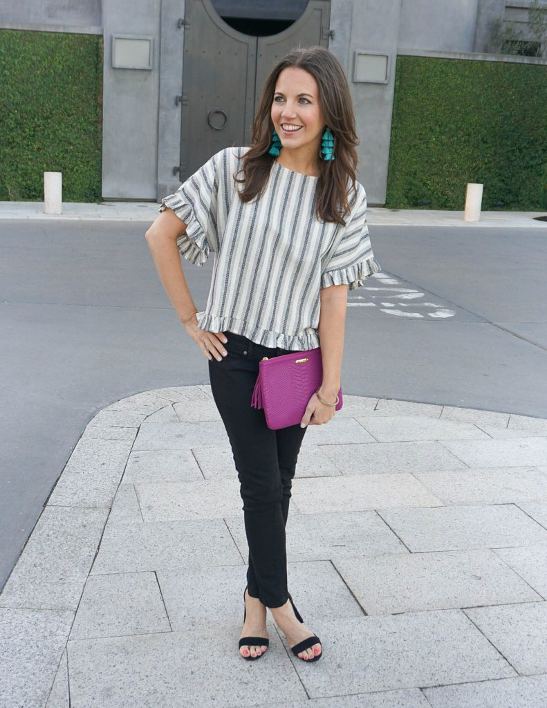 Weekend Outfit | Gray Striped Ruffle Top | Black Skinny Jeans | Houston Fashion Blogger Lady in Violet
