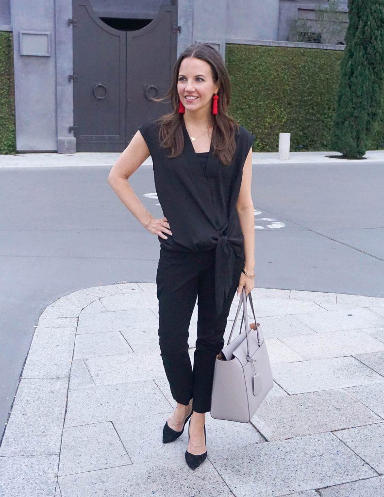 Work Outfit | Black Slacks | Sleeveless Wrap Top | Houston Fashion Blog Lady in Violet