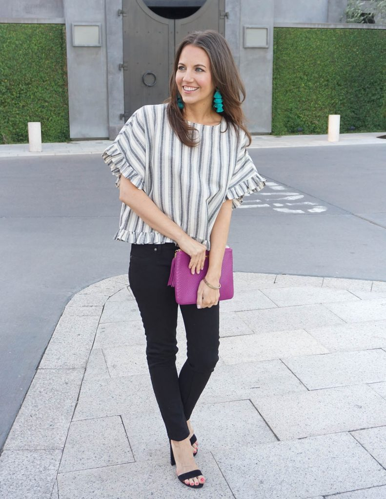 Casual Outfit | Gray Striped Top | Black Jeans | Houston Fashion Blogger Lady in Violet