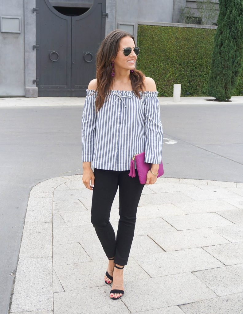Casual Spring Outfit | Striped Top | Black Skinny Jeans | Houston Fashion Blogger Lady in Violet