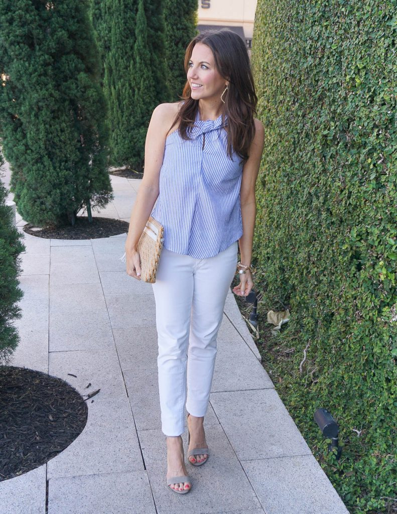Kentucky Derby Outfit Idea that's not a Dress | Blue Halter Top | White Jeans | Houston Fashion Blogger Lady in Violet