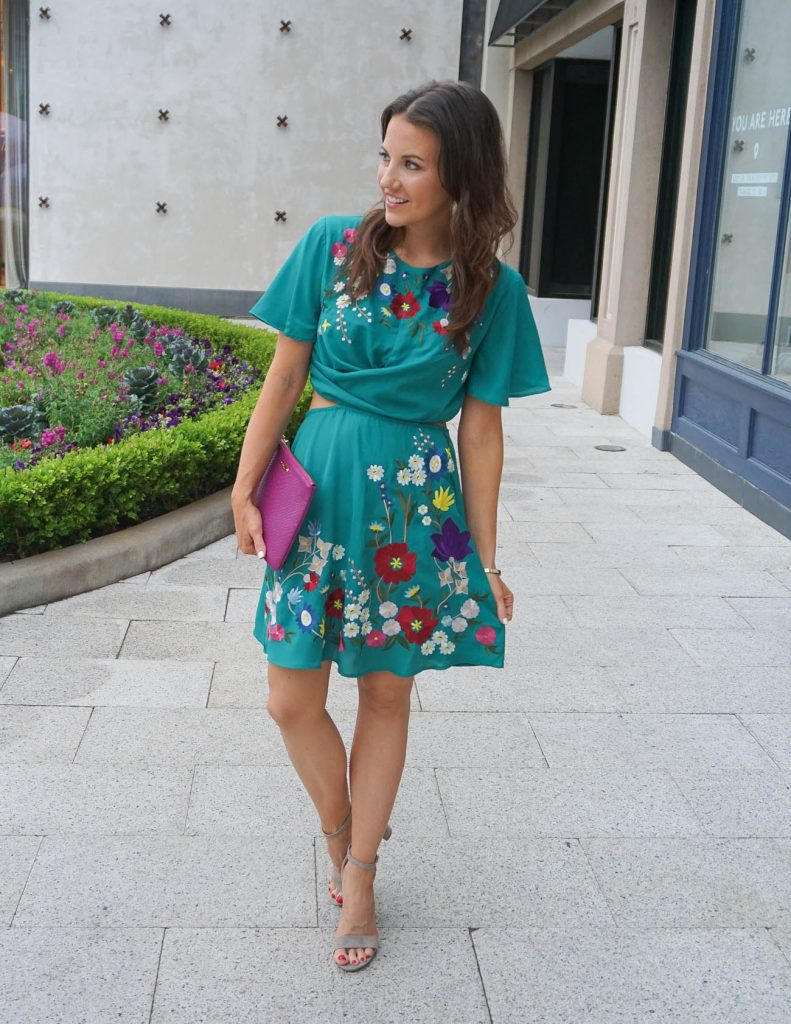 Spring It Dress | Taupe Block Heel Sandals | Pink Clutch | Houston Fashion Blogger Lady in Violet