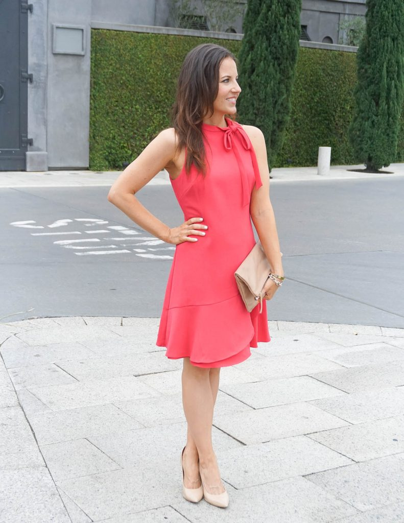 Summer Outfit | Coral Tie Neck Dress | Workwear | Houston Fashion Blogger Lady in Violet