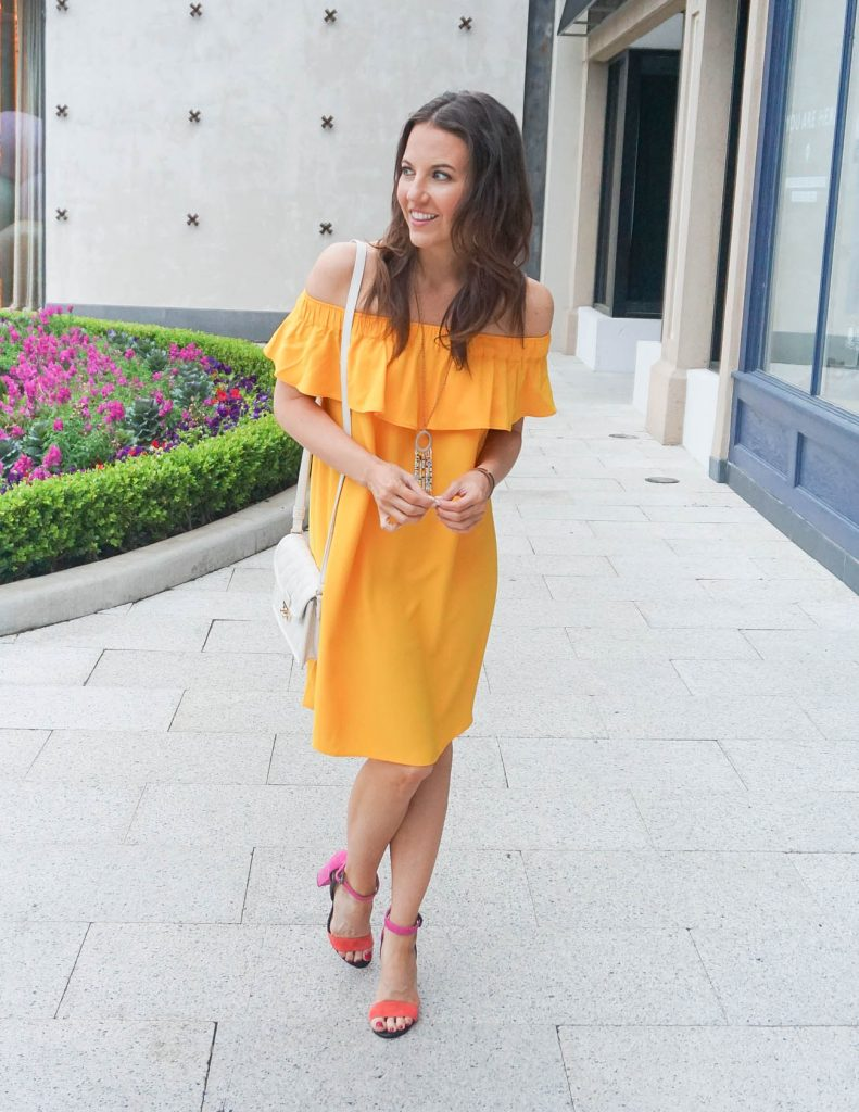 Summer Outfit | Yellow Off the Shoulder Dress | Block Heel Sandals | Houston Fashion Blogger Lady in Violet