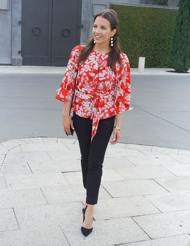 Work Outfit | Red Floral Blouse | Black Pants | Houston Fashion Blogger Lady in Violet