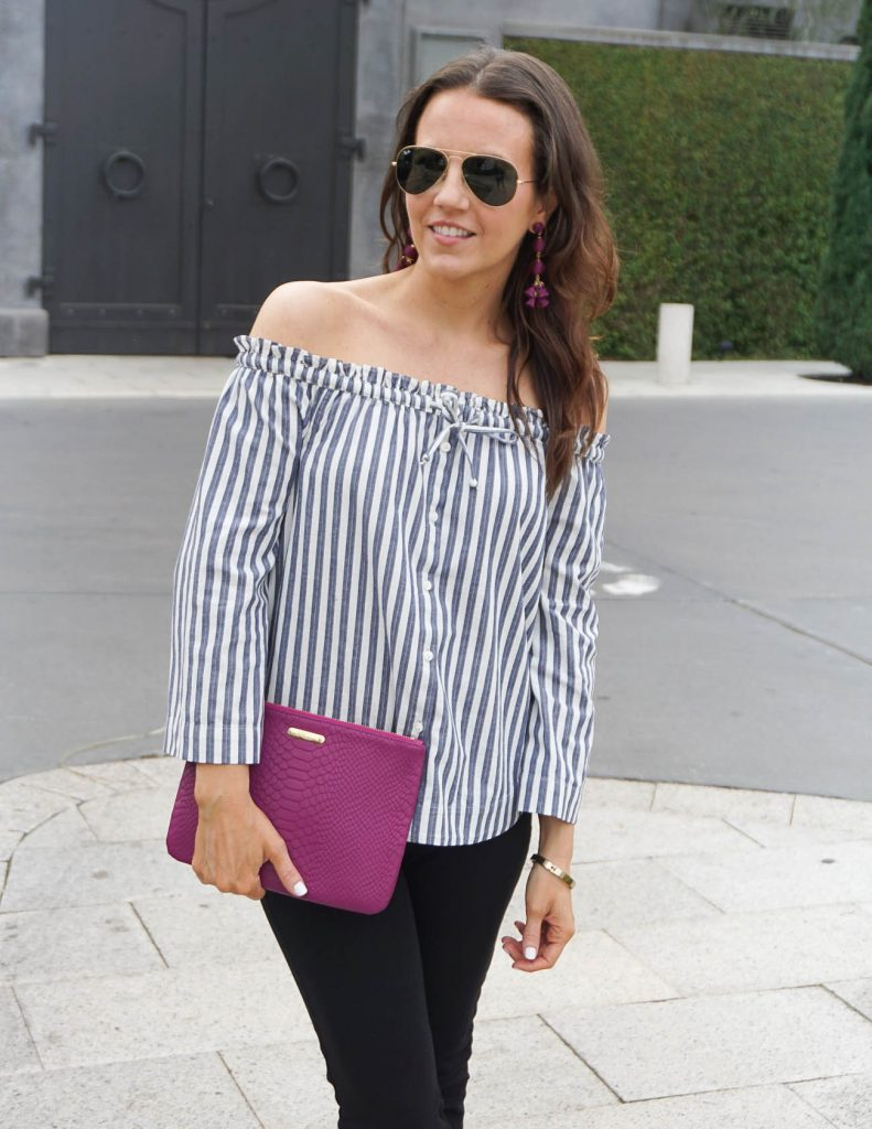 Casual Outfit | Striped Off the Shoulder Top | Statement Earrings | Houston Fashion Blogger Lady in Violet
