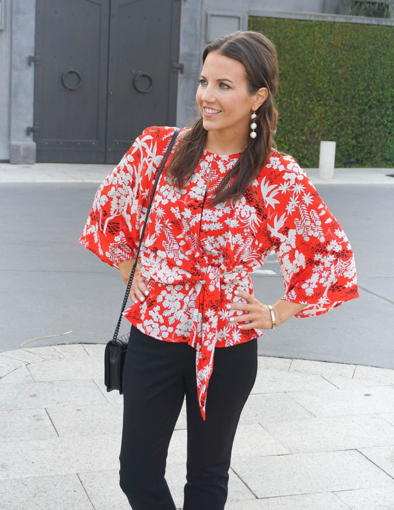 Fall Work Outfit | Red Tie Waist Top | White Ball Earrings | Houston Fashion Blogger Lady in Violet