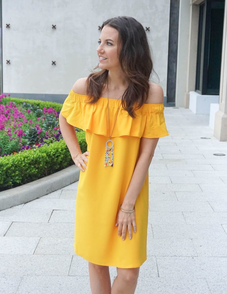 Spring Outfit | Yellow Shift Dress | Beaded Tassel Necklace | Houston Fashion Blogger Lady in Violet