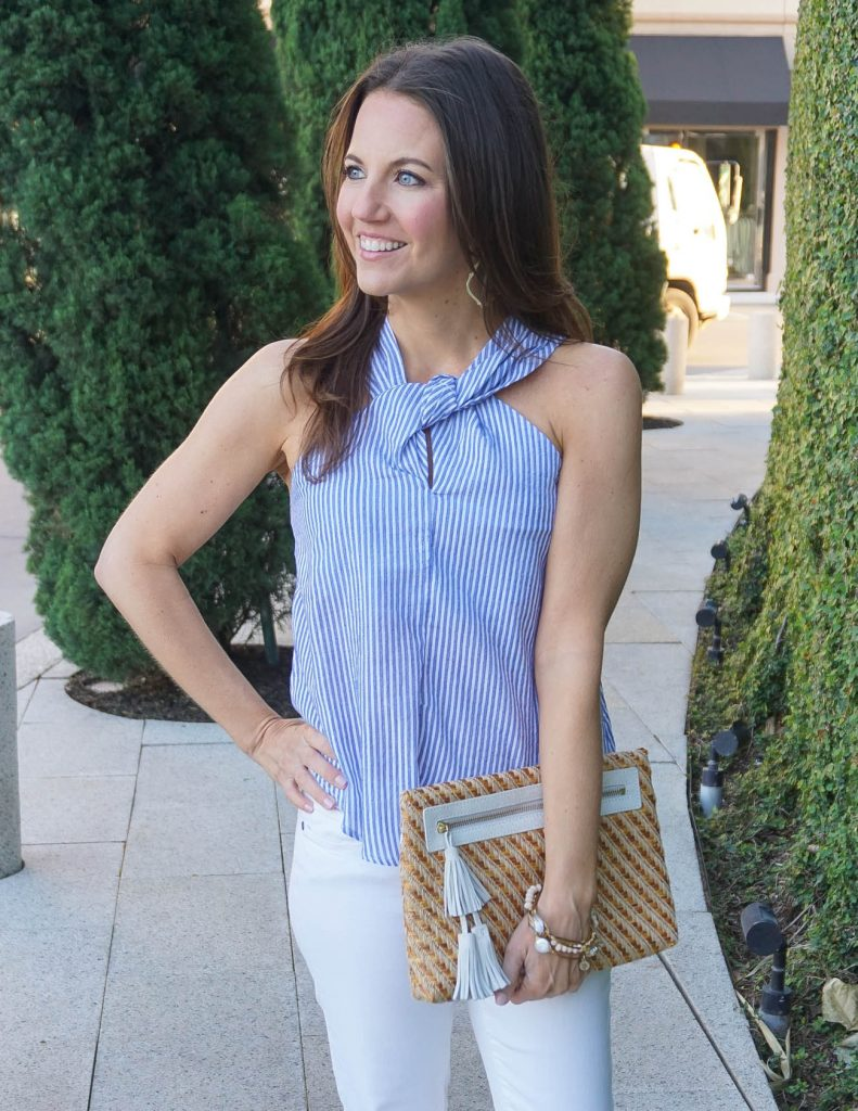 Summer Outfit | Blue Striped Halter Top | Straw Purse | Houston Fashion Blogger Lady in Violet
