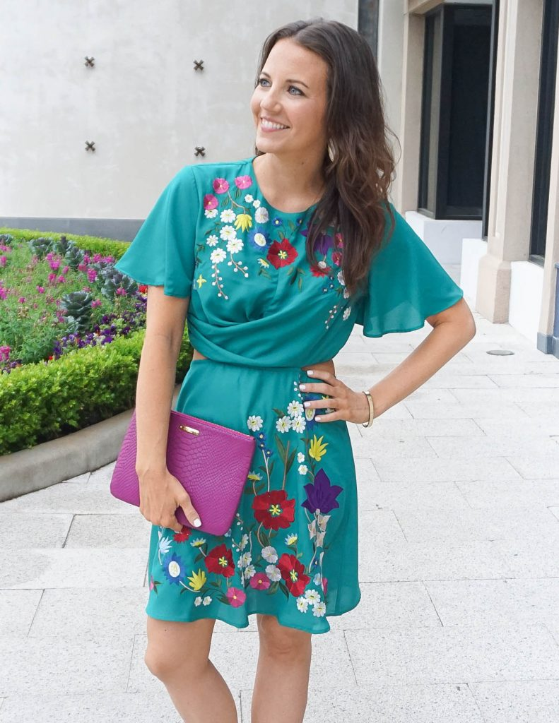 Summer Outfit | Floral Embroidered Dress | Dark Pink Clutch | Houston Fashion Blogger Lady in Violet