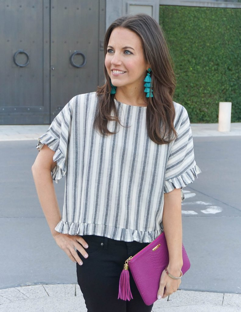 Summer Outfit | Gray Striped Crop Top | Teal Statement Earrings | Houston Fashion Blogger Lady in Violet