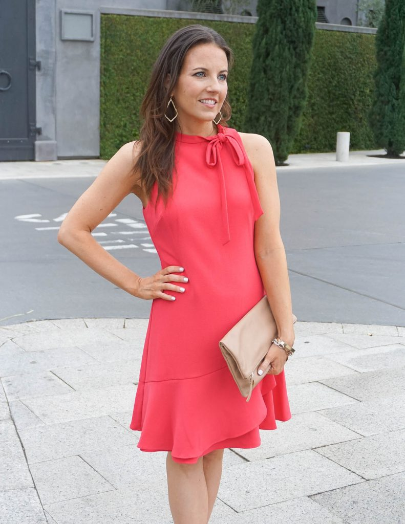 Summer Work Outfit | Coral Dress | Gold Earrings | Houston Fashion Blogger Lady in Violet