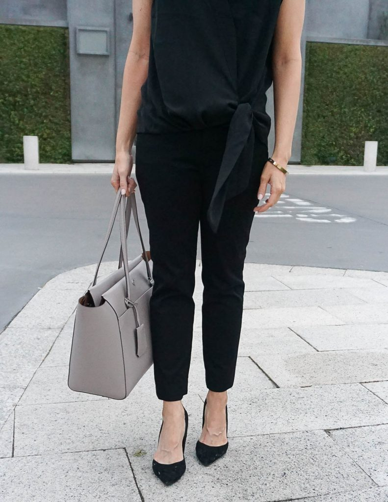 Black Work Pants | Office Outfit | Gray Tote Bag | Houston Fashion Blogger Lady in Violet