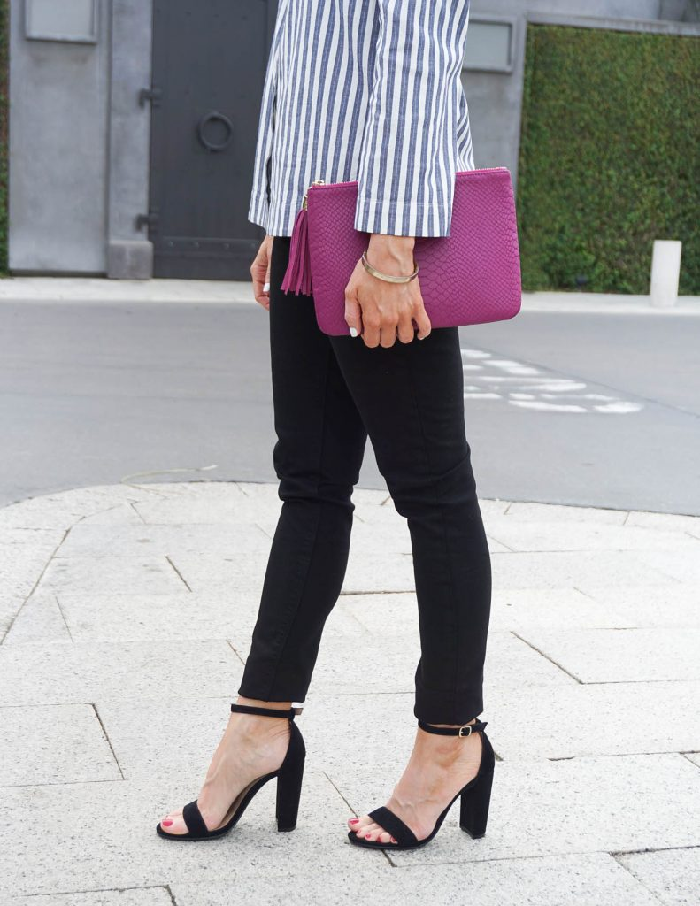 Spring Outfit | Black Skinny Jeans | Black Block Heel Sandals | Houston Fashion Blogger Lady in Violet