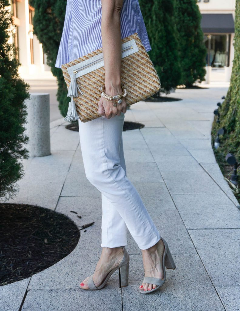 Spring Outfit | White Skinny Jeans | Block Heel Sandals | Houston Fashion Blogger Lady in Violet