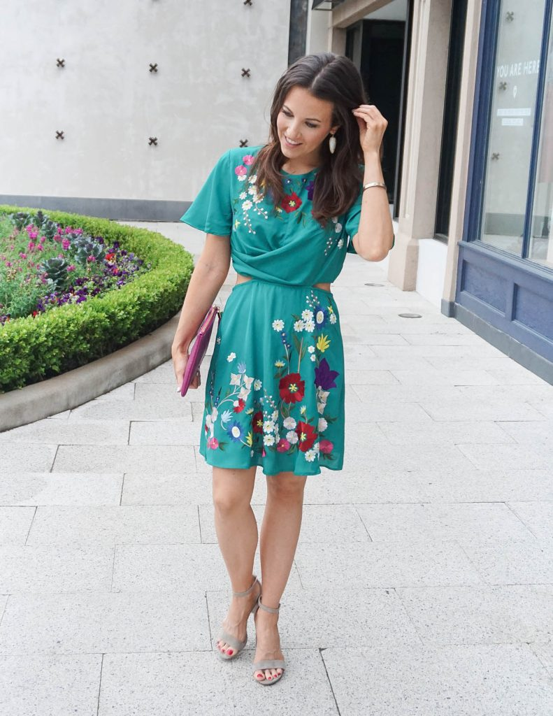 Spring Wedding Outfit | Teal Dress | Taupe Block Heel Sandals | Houston Fashion Blogger Lady in Violet
