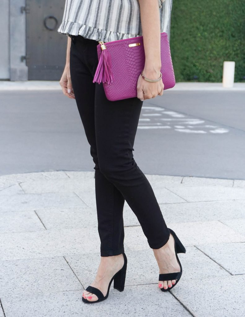 Summer Outfit | Black Skinny Jeans | Dark Pink Clutch | Houston Fashion Blogger Lady in Violet